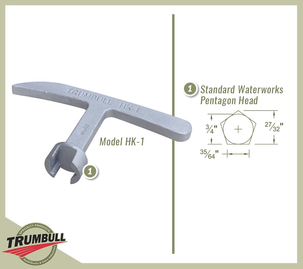Trumbull HK-1 Meter Box Std Pentagon Nut w// Valve Key Slot Curb Box Key Wrench